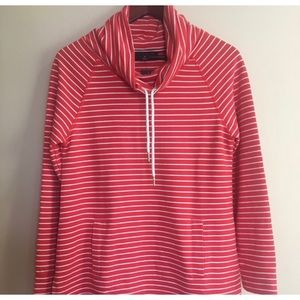 Tommy Hilfiger Red Striped Cowl Neck Sweater Sm